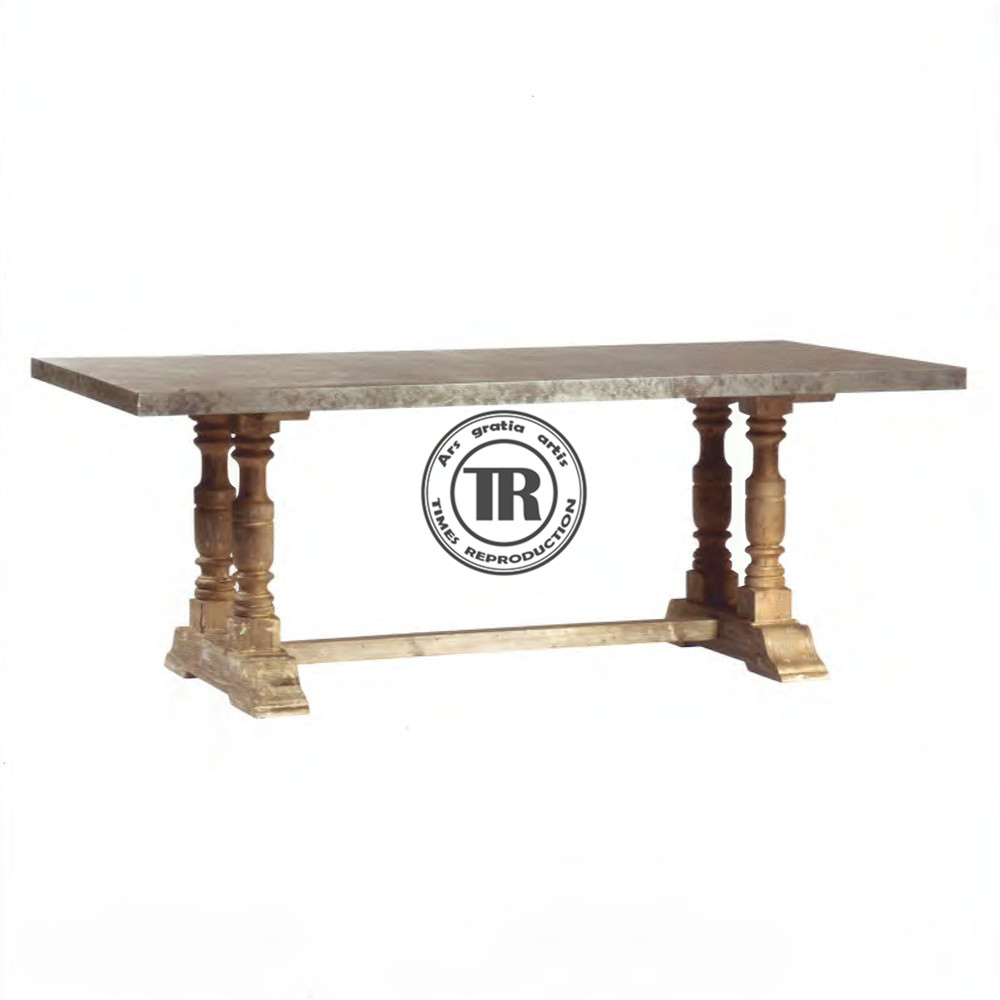 Blackburn dining table in reclaimed timber,Zinc plated top dining table,vintage French style dining table