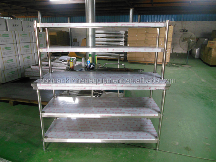 Catering Kitchen Equipment Stainless Steel Working Prep Table With Flex-Master Overshelf Kit