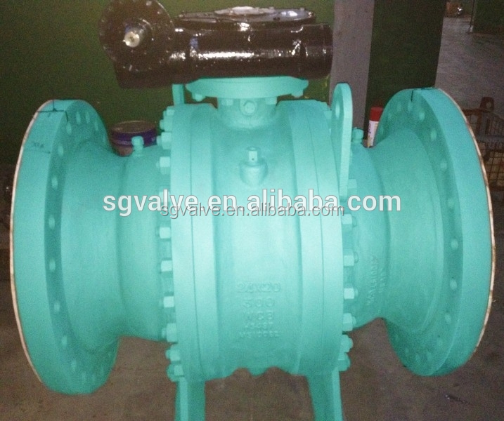 Gear operated 3 piece type reduced bore ball valve