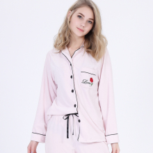 Women Tailored collar Rose Embroidered Pocket Velour Long sleeve Contrast color Drawstring Plain Nightwear Roomwear pajamas set
