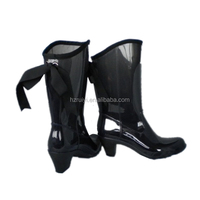 fancy high heel PVC rain boots with shoe lace,waterproof plastic boots women,durable working boots
