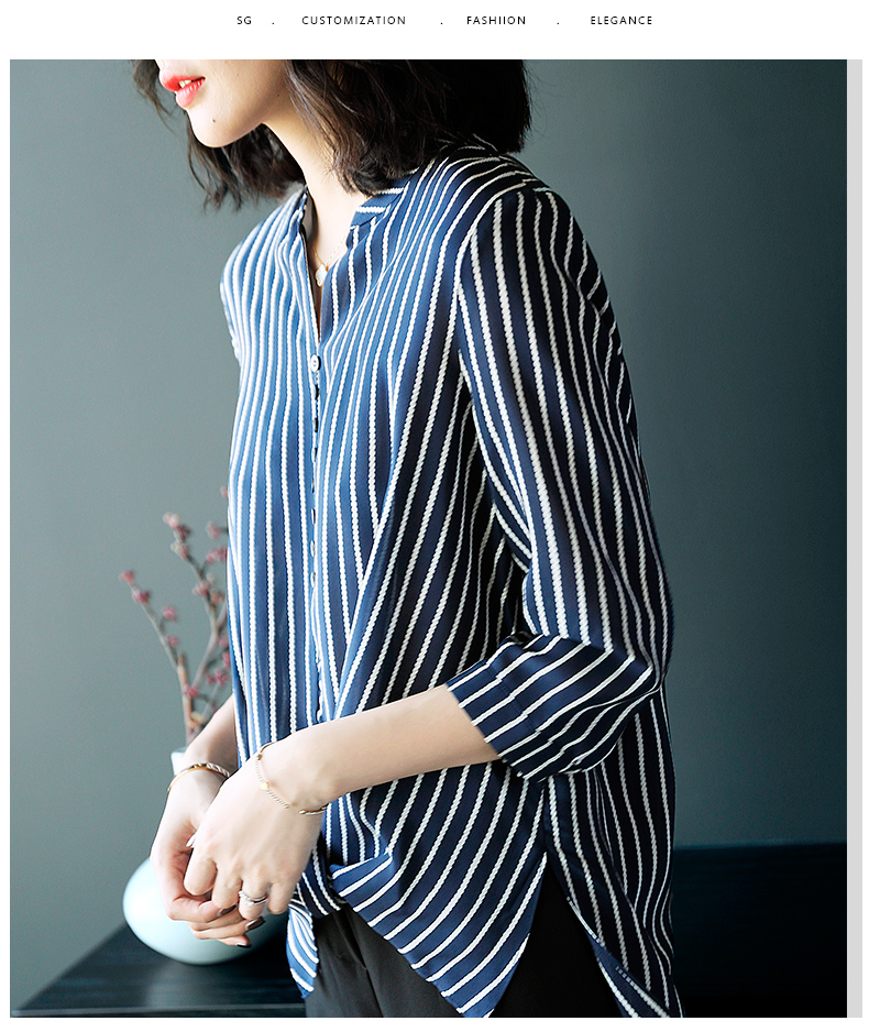 Chiffon 2017 Latest V neck stripe elbow sleeves blouse