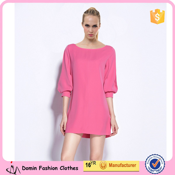 New Design Elegant Women Clothing Boat Neck Simple Shift Dress