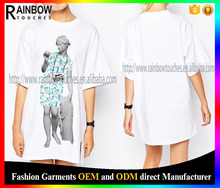wholesale women front print t-shirt with dropped shoulder seams
