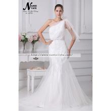 2017 White Mermaid One Shoulder Court Train Sleeveless Applique Ruffle Wedding Dresses Long Bridal Gowns Dress of Bride