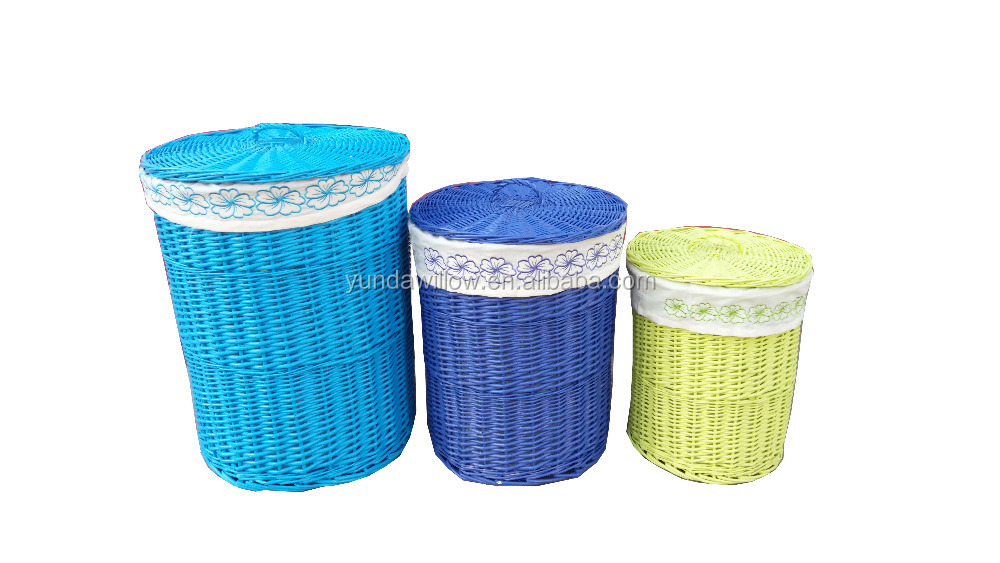 colored cylindrical willow laundry hamper basket with cotton liner