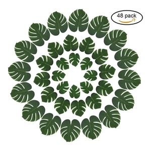 Hawaiian Luau Jungle Beach Theme Party Table Decorations Accessories 48pcs Tropical Palm Artificial Monstera Leaves