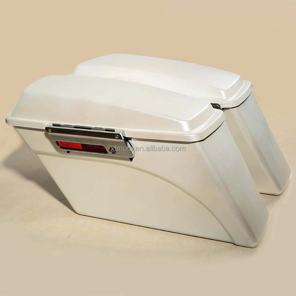 motorcycle saddlebags hard bags Left & Right White Hard Saddle Bag Trunk For 94-13 Touring FL Glide Ultra