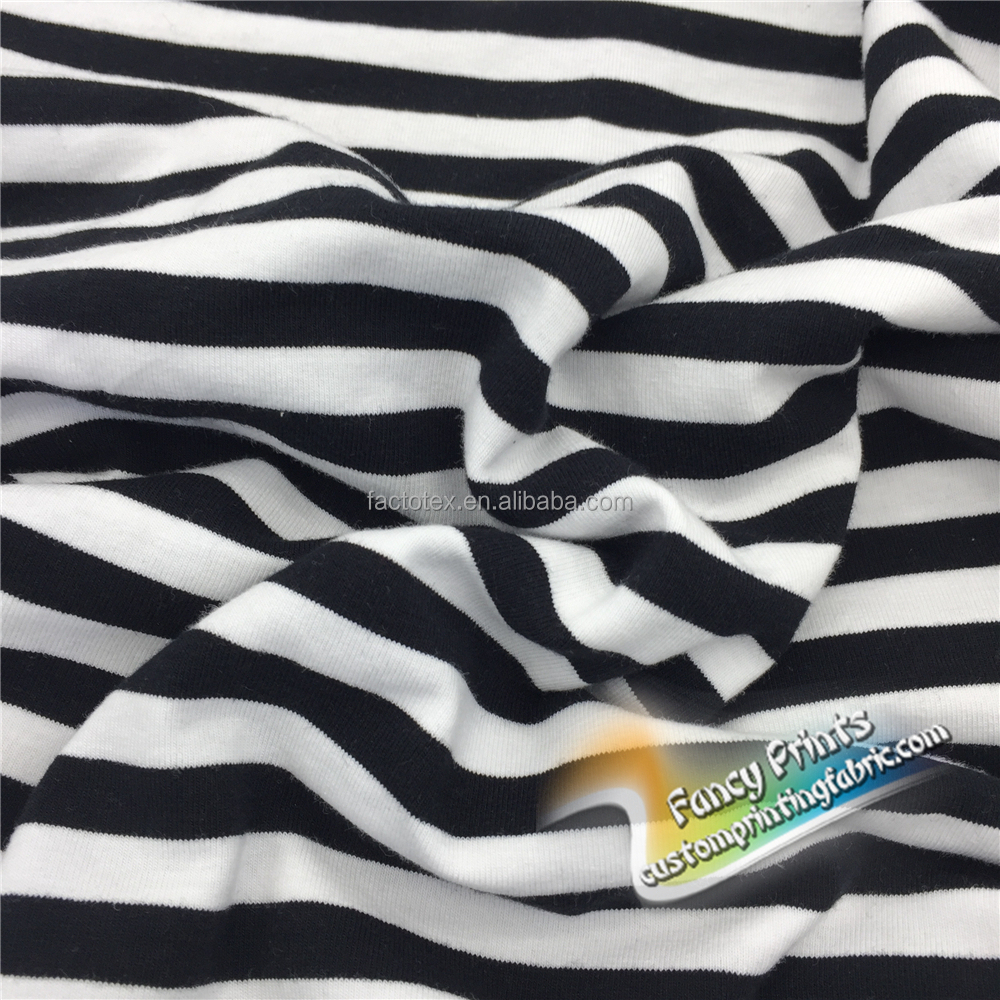 2017 Wholesale waterproof 4-way t-shirt black and white stripe spandex polyester stretch fabric