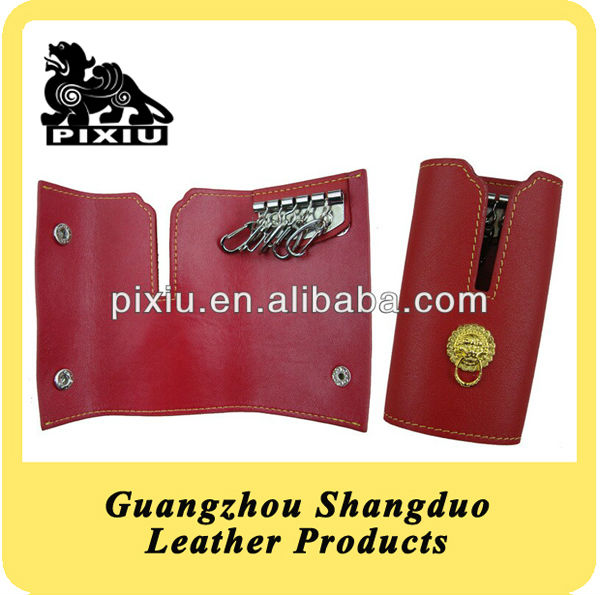 US Popular Red Genuine Leather Key Case In Factory Low Price