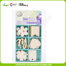 18pcs 35mm scrapbooking style decorative flower wooden shapes
