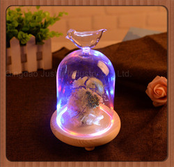 Handmade Flower Glass Bell Jar Dome With Base for sale
