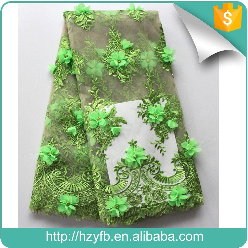 Yifangbo handcut embroidery design ladies suits 3D lace with applique green latest net tulle fabric