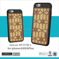 Logo carved durable wooden mobile phone case for i phone 6