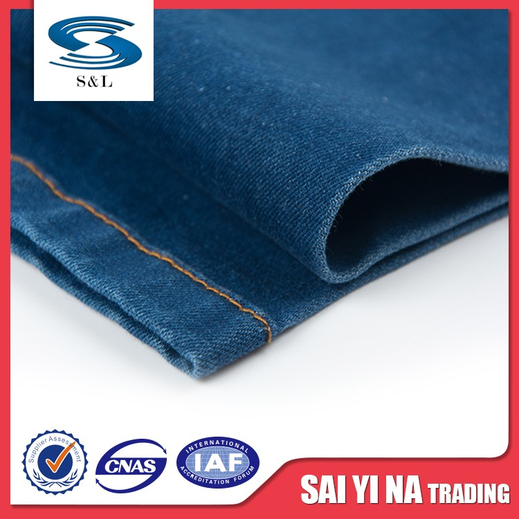 Cheap printed woven cloth cotton viscose denim jeans wholesale fabric