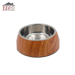 wholesale wooden decal melamine pet dog bowl rubber ring