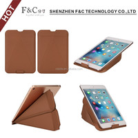 Foldable back standing flip leather case for ipad mini 4 pure color