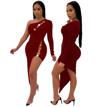 Women sexy red high slit evening gowns dresses