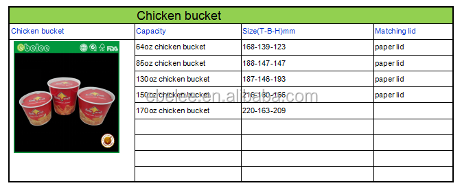 take out paper custom printed chicken bucket