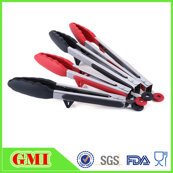 Food grade silicone kitchen serving tongs with holder stand