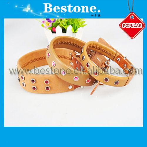 2014 Fashionable Pure Cowhide Pet Collars/leather dog collar
