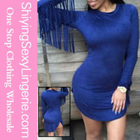 www sexy girl come Navy Fringed Long Sleeves Faux Suede Mini Dress