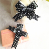 Black pp ribbon printed white dots pull string ribbon butterfly bow