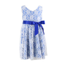 New arrival baby girls latest fashion dress designs blue lace dress flower pattern print dress