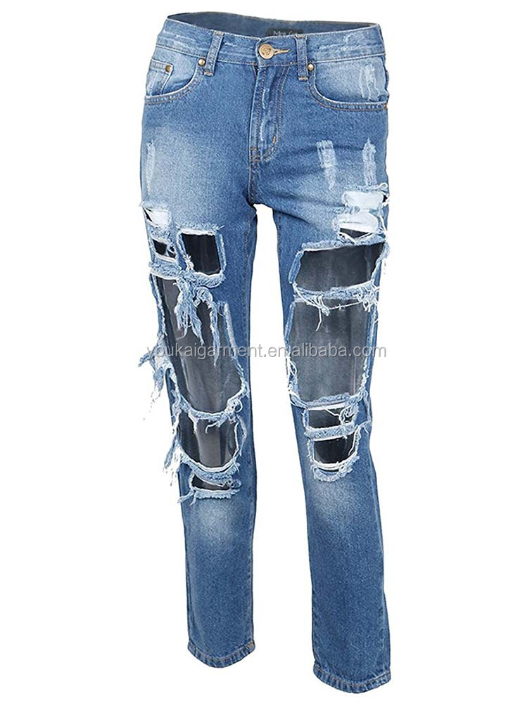 Women Fashion Sexy Destroyed Boyfriend Jeans Ripped Washed Garment Factory Denim Trousers