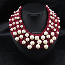 Hot sale imitate pearl beads fashion bib necklace