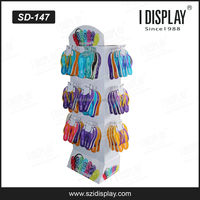 4 sides paper material cardboard sidekick display stand with peg hooks for fashion slipper retail