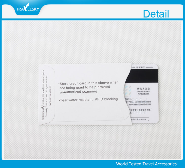 Travel blocking rfid credit card sleeve