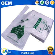 Custom Printed Clear Fold HDPE Supermarket Plastic T shirt Bags On Roll