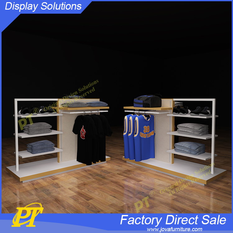 2016 New men's clothing shop interior design,good quality portable t-shirt floor display stand