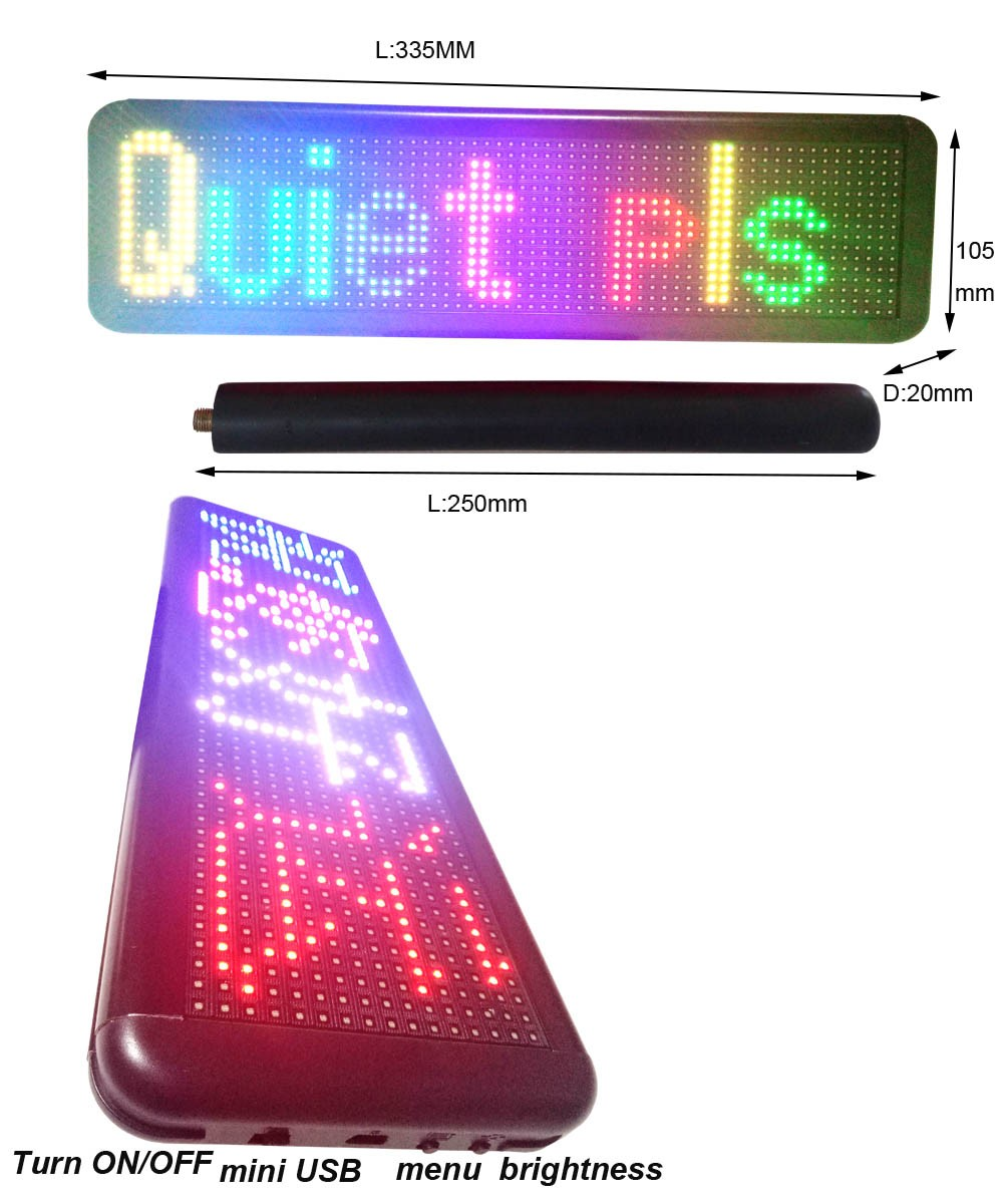 Multi-languages Hand held built in lithium battery High Brightness RGB LED programmable display Placard/paging board
