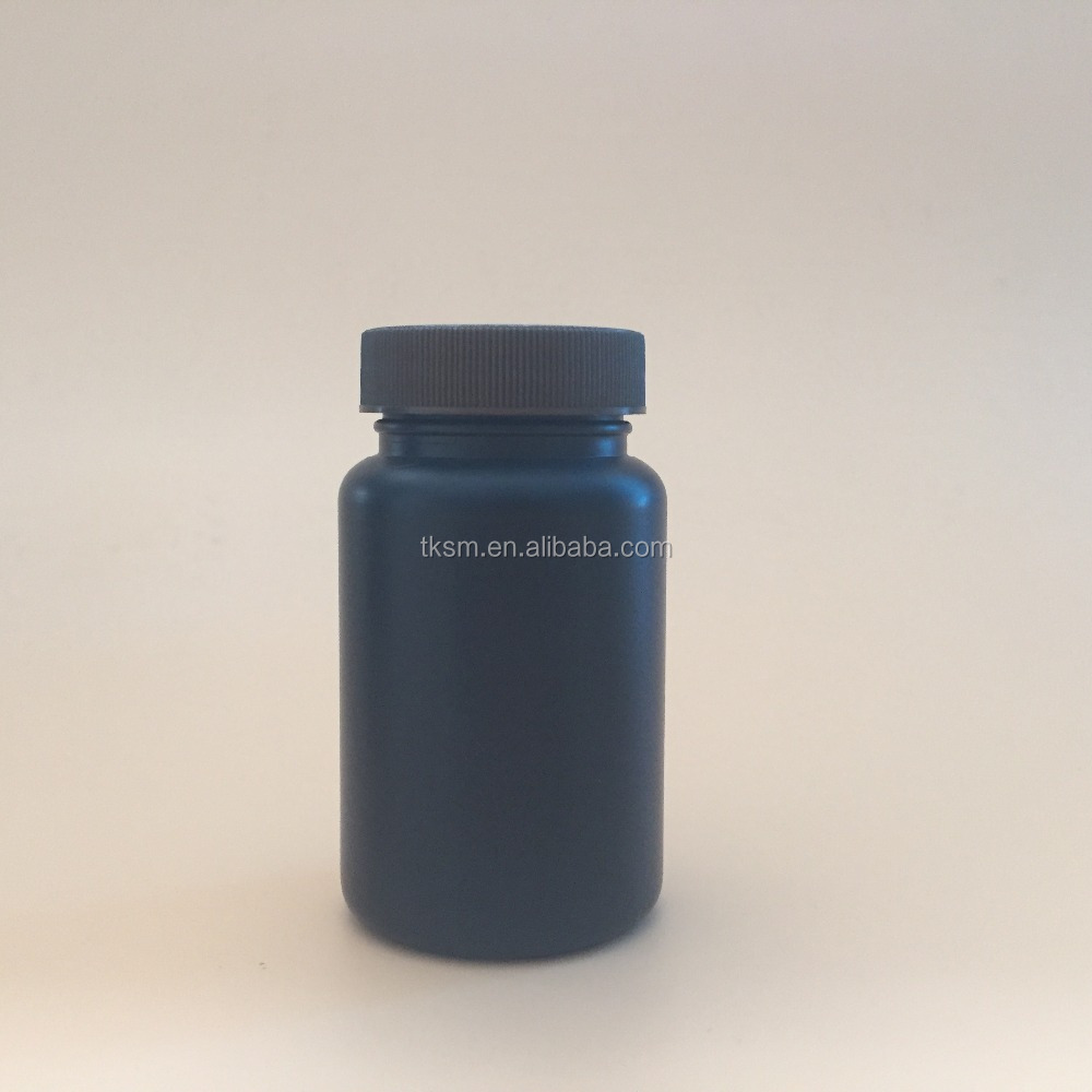 Black round 100ml pill plastic acrylic PET bottle, making medicine capsule,China supplier factory for sale.