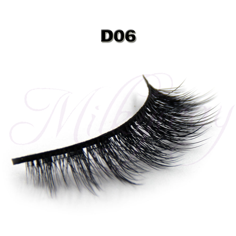 Hot sells 3D 0.07 faux silk mink eyelash synthetic strip eyelash with custom package