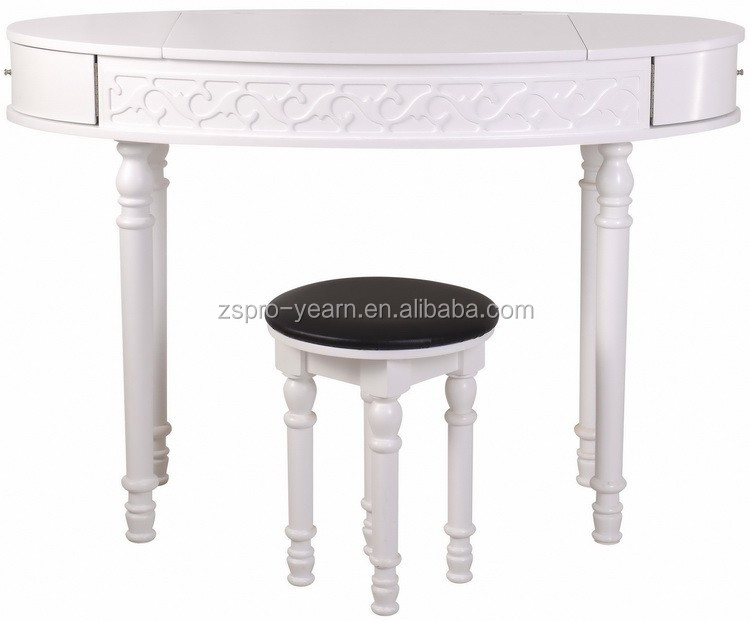 Wooden Modern Dressing Table Makeup Dresser with Mirror and Stool and White Color Concise Style Designs for Girl Bedroom