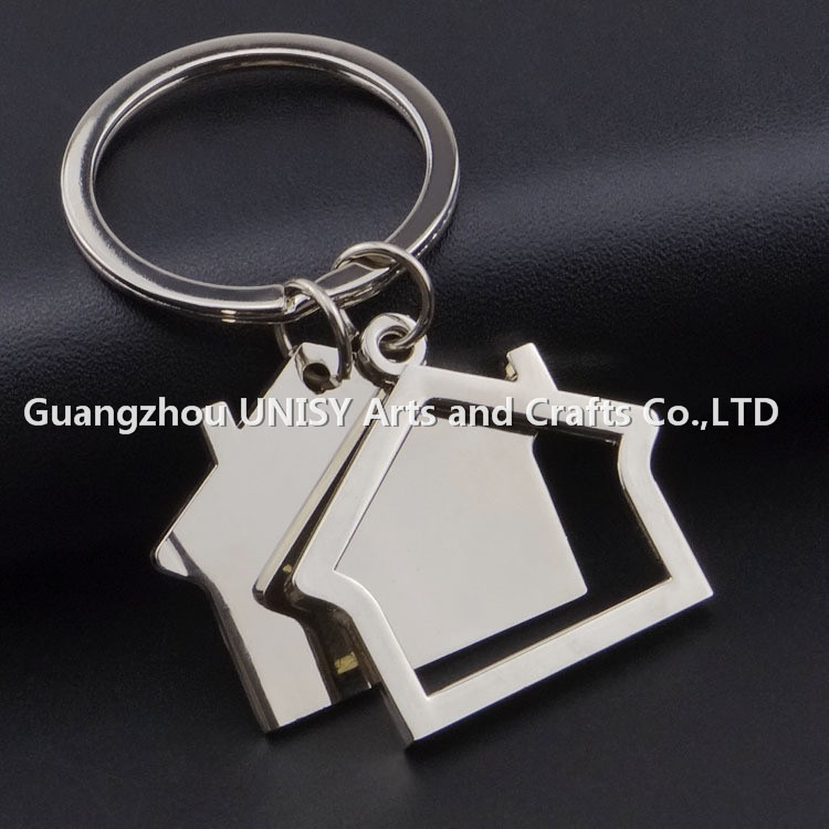 Metal house shaped keychain,multicolor metal keyrings promotional,wholesale zinc alloy house keychain