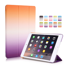 Hot selling rainbow color pu leather printing tablet case for ipad air 2