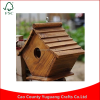 Custom Garden Decoration With Free For Delivery Burned Wooden Bird House