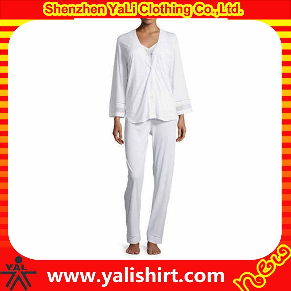 2015 fashion spring comfortable cheap bulk white plain cotton mix size fitness pajamas for women