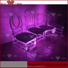 16 colours for LED light clear wholesale stacking wedding chair for sale