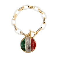 Hot selling round rhinestone tag in Italy flag color, gold and silver chunky chain for male and fale, Italia Bandiera braccialet