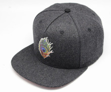 winter flat brim corduroy snapback cap/hat print with leather back closure