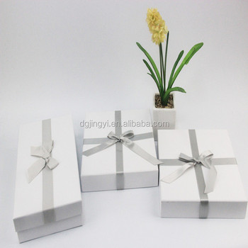 High quality clear white paper packaging box with sliver bow tie and custom logo