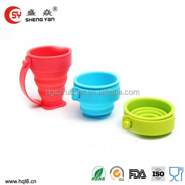 Dongguan supplier drinking travel endurable FDA silicone foldable cup by factory,foldable cup,collapsible