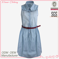 Teenage girls prefer trendy fashion light blue sexy dress
