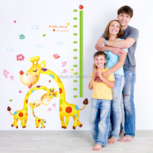 Hot sale cartoon height chart pvc decal giraffe wall stickers for baby room DIY