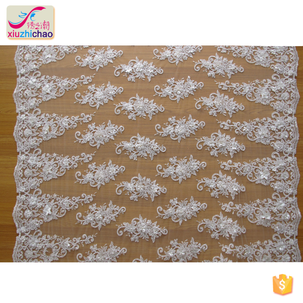 ZP0038-M 2019 new sample glass beaded wedding dress fabric bridal gowns lace cord embroidery lace fabric